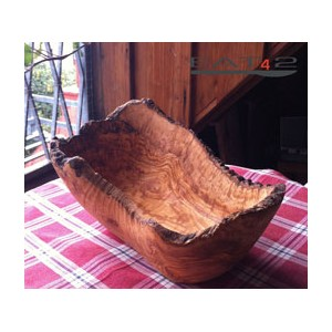 olive wood bowl, oval, natural edge
