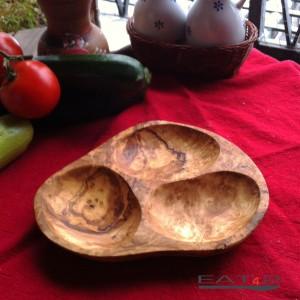 3 - Fächer Olivenschale