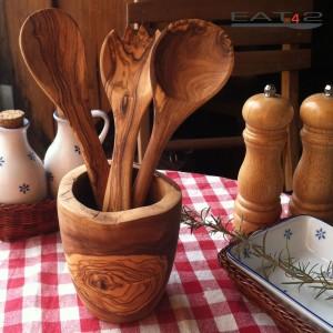 Küchenhelfer Set incl. Köcher -naturbelassener Rand