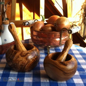 Mortar and pestle out of olive wood