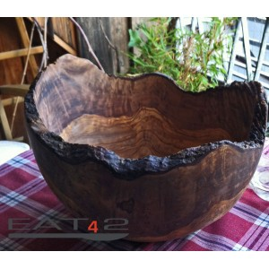 salad bowl olive wood, natural edge and cut, country cottage style