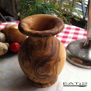 Blumen Vase aus Olivenholz