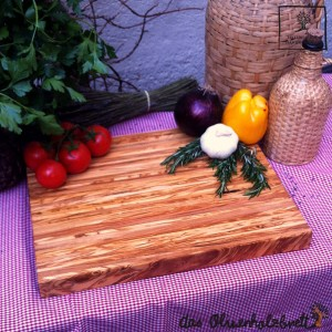 Large chopping board of olive wood