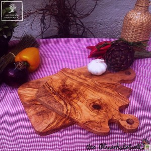 Wood cutting board with handle, set of two