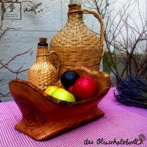 Olive wood bowl, oval form, natural edge, fruit bowl