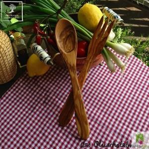 Posate per insalata in legno di olivo