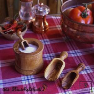 caja de especias de madera de olivo