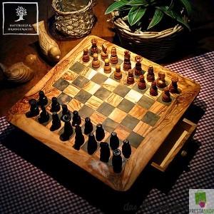Schachspiel viereckig mit Schublade