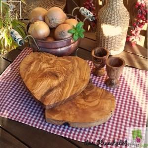 "Frühstück - Set ""Liebe"" aus Olivenholz 4tlg"