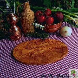 Oval breakfast olive wood board