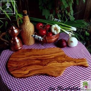 Servierbrett Holz im Naturschnitt mit Griff