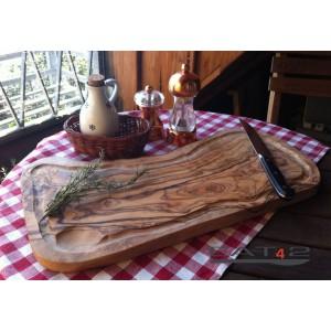 Tagliere, con una scanalatura per il succo, legno d'olivo