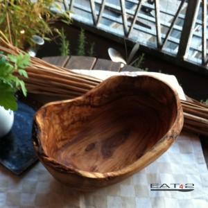 Olive wood bowl, oval form, natural edge