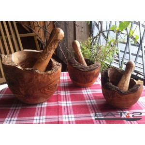 wood mortar incl. pestle