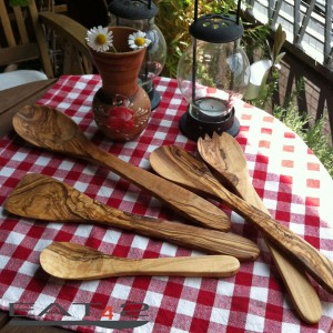 Olive wood Kitchen Aid Set of salad servers, spatulas and spoons