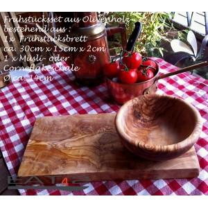 Set in legno di olivo, ciotola e tagliere