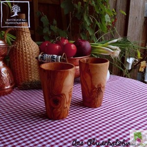 Two Cups made of olive wood