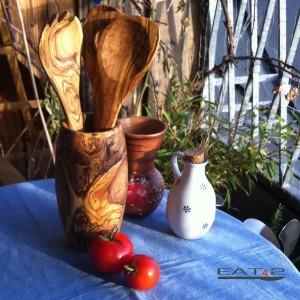 Küchenhelfer Set aus Olivenholz incl. Köcher