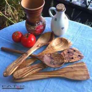 Küchenhelfer Pfannenwender und Löffel Set aus Olivenholz - 5 teilig