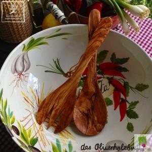 Posate per insalata in legno d'ulivo