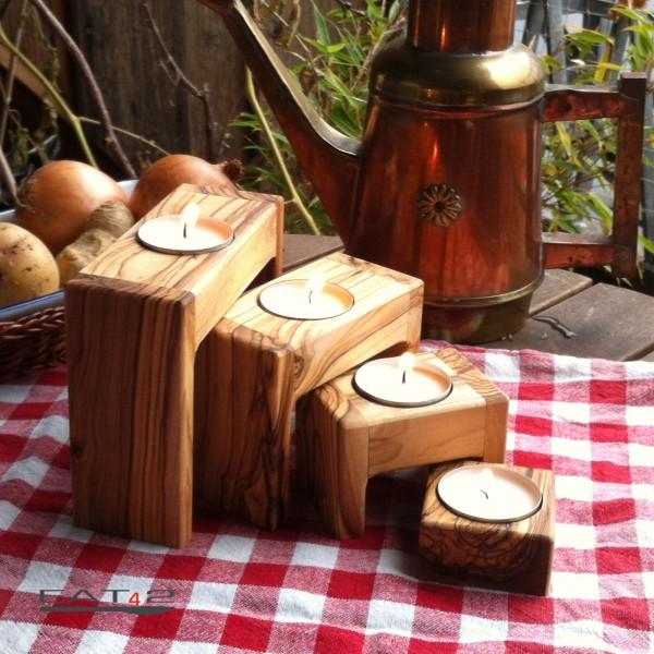 porta lumino in legno d\'ulivo
