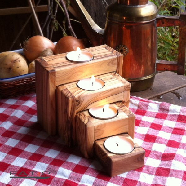Modern Candle Holders Out Of Olive Wood Flaschenhalter Aus Olivenholz