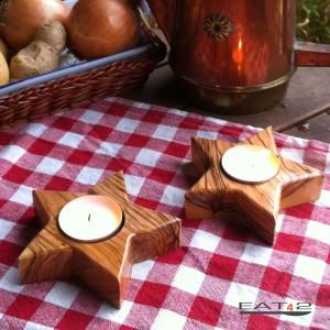 Teelichthalter in Sternform aus Olivenholz