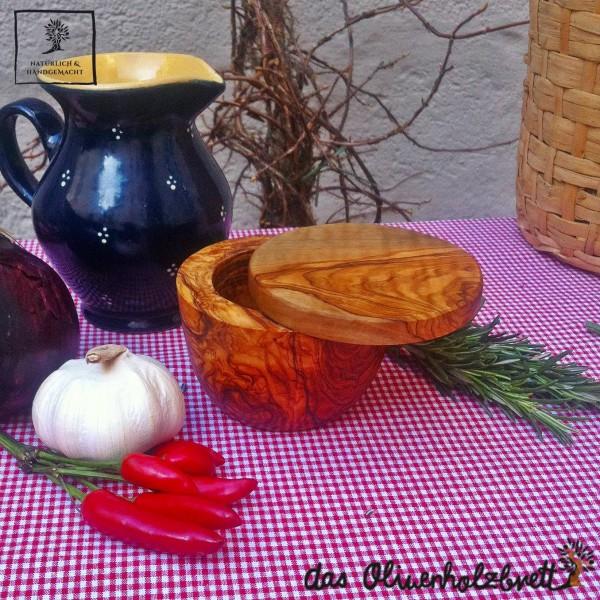 Dose mit Deckel aus Olivenholz