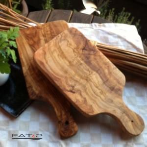 Tabla de cortar para cortar de madera de olivo, rectangular e con mango