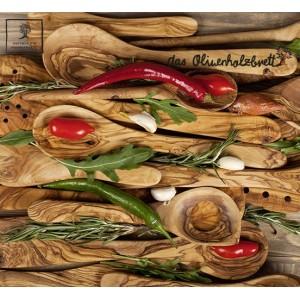Plateau de petit déjeuner à base de bois d'olivier, rectangulaire